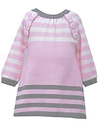 Baby Girls Pink Long-Sleeve Stripe Intarsia Knit Sweater Dress