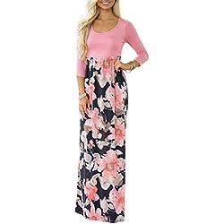 DUNEA Women's Maxi Dress Floral Printed Autumn 3/4 Sleeve Casual Tunic Long Maxi Dress