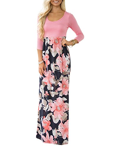 DUNEA Women's Maxi Dress Floral Printed Autumn 3/4 Sleeve Casual Tunic Long Maxi Dress Pink