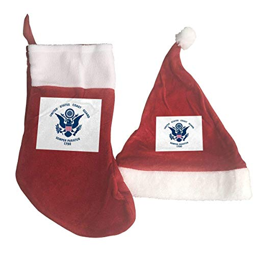Flag of The United States Coast Guard Santa Hat & Christmas Stocking Holiday Christmas Decorations Party Accessory