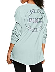 Victorias Secret Pink New Logo Bling Henley Campus Tee Mint Green (Small) Oversize Long Sleeve