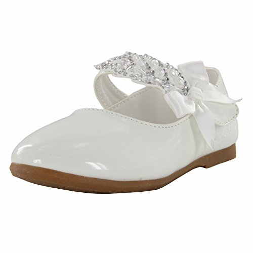Maxu Little Girl Ballet Mary Jane Shoe,White,Little Kid,12M ()