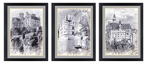 Ardemy Canvas Wall Art Black and White European Building Castle Painting Prints, Modern 12