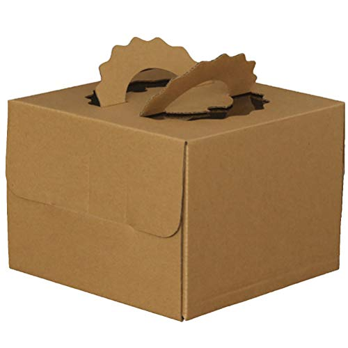 Cajas de papel café para tartas de cumpleaños, cajas para tartas con asa, contenedores de repostería para magdalenas,...