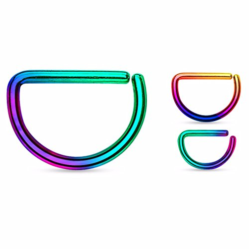 Rainbow Titanium Anodized - D Shape Rainbow Titanium Anodized over Annealed 316L Surgical Steel Cut Ring (choose size) (Thickness: 16GA (1.2mm) Length: 5/16