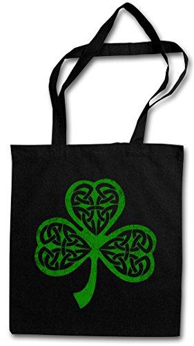 SHAMROCK IRISH KNOT II Hipster Shopping Cotton Bag Borse riutilizzabili per la spesa – irlandese Irlanda quadrifoglio Cloverleaf Irland Ireland Runes Rune