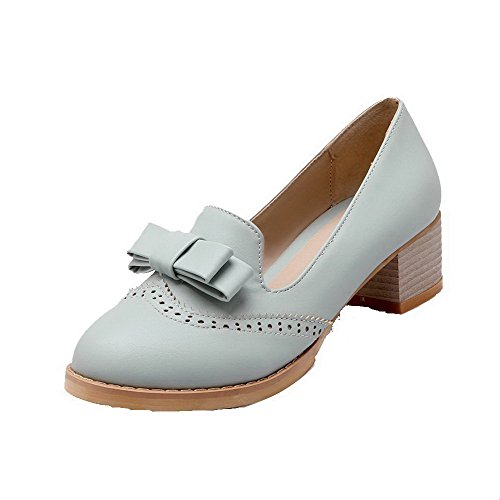 AllhqFashion Damen Weiches Material Mittler Absatz Ziehen auf Rein Pumps Schuhe Hellblau