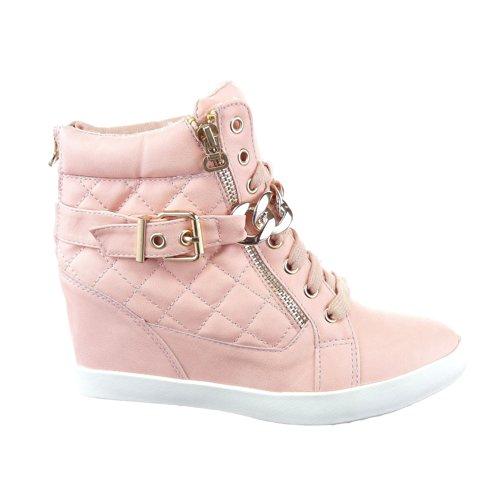 Sopily - Chaussure Mode Baskets compensée Cheville femmes Matelassé Talon compensé 8 CM - Intérieur textile - Rose/Or