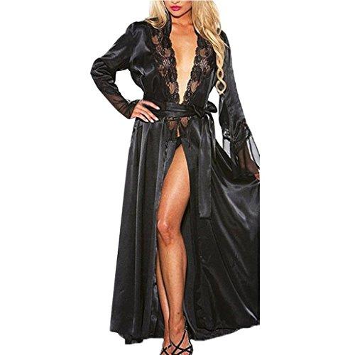 Letdown Women 2PCS Sexy Lace Long Silk Kimono Dressing Gown Babydoll Bath Robe Lingerie with Belt (S, Black) ()