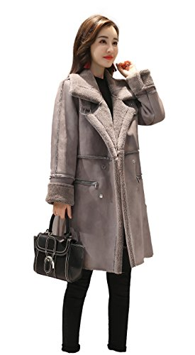 Shineflow Women's Lapel Faux Fur Fleece Lined Parka Warm Winter Shearling Coat Leather Jacket ,Grey,Large