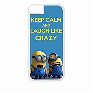 Keep Calm and Laugh Like Crazy- Hard White Plastic Snap - On Case-Apple Iphone 4 - 4s - Great Quality!