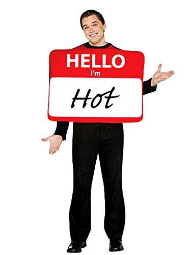 Adult Hello Im Name Tag (Adult Hello I'm Hot Costume Mens Customizable Name Tag Tunic)