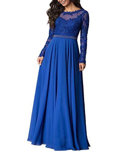 9d110c030bdd Aofur Womens Long Sleeve Chiffon Party Evening Dress Formal Wedding Prom  Cocktail Ladies Lace Maxi Dresses