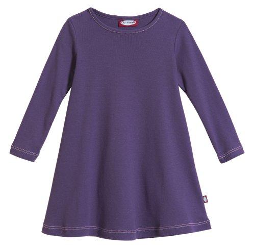 City Threads Little Girls' Cotton Long Sleeve Dress for School or Play for Sensitive Skin SPD Sensory Friendly, Purple, 6