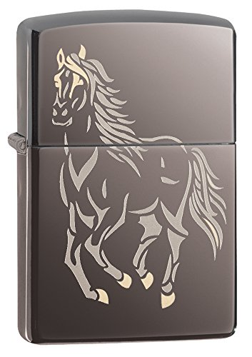 Zippo Horse Pocket Lighter, Black Ice