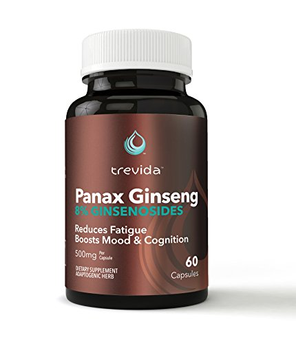 Trevida Panax Ginseng, Korean Ginseng Root Extract, High Potency 8% Ginsenosides, Vegan 60 Capsules, No Additives