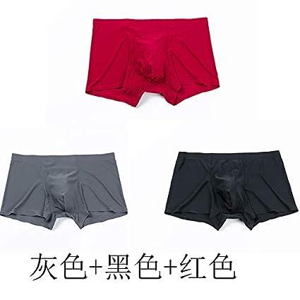 WXNLEAI 3 cargados de ropa interior para hombre seda de hielo boxer sin costuras bragas cuatro