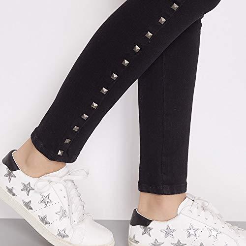 Skinny Stretch Ed Primavera A Mezzo Jeans Rivetto Black Mid Laterali Plus Rlwfjxh Donn Donna Vita Righe Solid Pencil Estate 6l 4l Intera Size qtTfERF