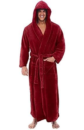 Alexander Del Rossa Mens Fleece Robe, Long Hooded Bathrobe, Small Medium Burgundy (A0125BRGMD)