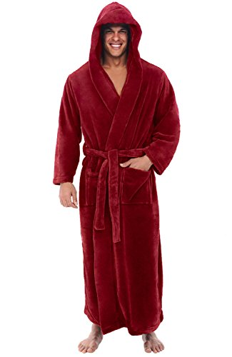 (Alexander Del Rossa Men's Robe with Hood - Premium Fleece Bathrobe, Big and Tall, 1XL 2XL Burgundy (A0125BRG2X) )