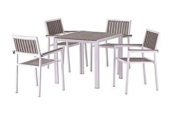 Conjunto terraza aluminio blanco lamas poliwood gris Beach 4 sillas ...