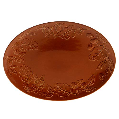 Certified International 22767 Autumn Fields Acorn Pumpkin Oval Platter 16