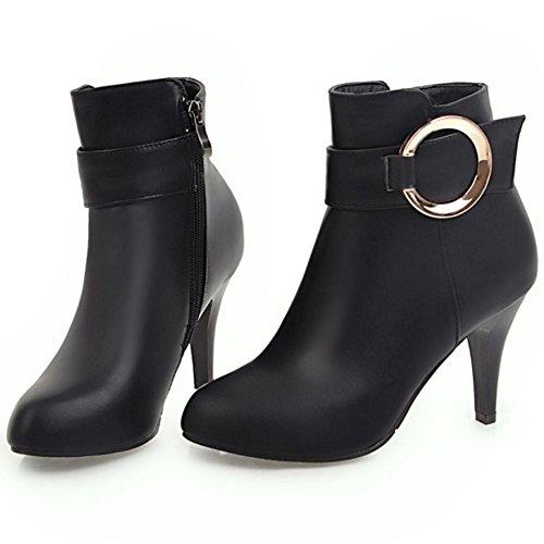Black COOLCEPT Women Zipper Side Boots xwg8BFnUqT
