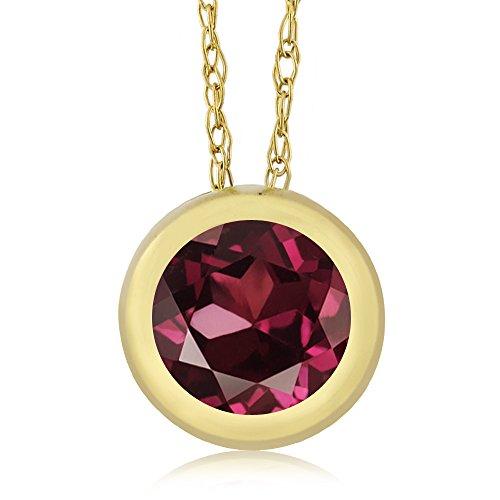 Rhodolite Family Pendant (1.00 Ct Round Red Rhodolite Garnet 14K Yellow Gold Pendant With Chain)