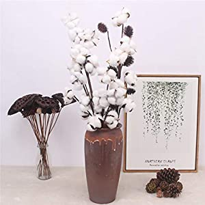 Artificial Cotton Flower 2 Colors Single Branch Simulation Flower DIY Wedding Decoration for Home Party Office 1 Pcs,D 5