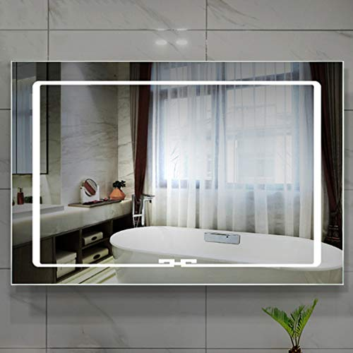 Modern LED Lighted Bathroom Mirror, Rectangle Wall Mounted Illuminated Mirror, White/Warm Lights,Makeup -