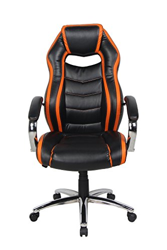 - NKV High Back Office Chair Ergonomic Executive Computer Chair Heavy Duty Desk Chair with Chrome Armrests and Base (Black/Orange)