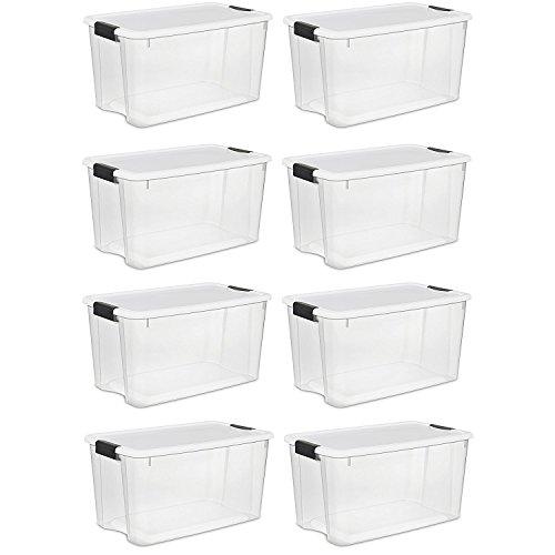 Sterilte 70 Quart/66 Liter Ultra Latch Box, Clear with a White Lid and Black Latches, (70 Quart, 8-Boxes) ()