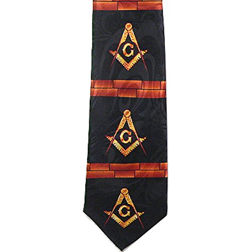 Black Necktie Background (Masonic Neck Tie - Black Background Polyester long tie with Bricks, Square and Compass design Masonic pattern design for Freemasons Formal Wear Attire (Masonic Compass and Square))