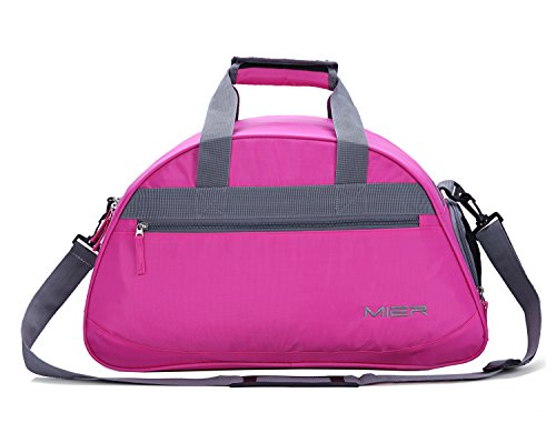 MIER 20inch Sports Gym Bag Travel Duffel Bag with Shoes Compartment for Women and Men (Pink) - Ladies Gym