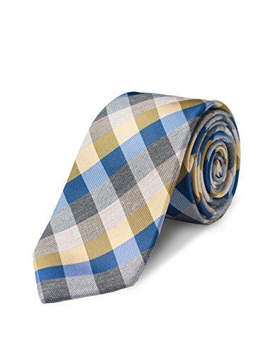 Gingham Silk - Origin Ties Mens 100% Silk Textured Khaki/Blue/Grey Gingham Plaid Skinny Tie