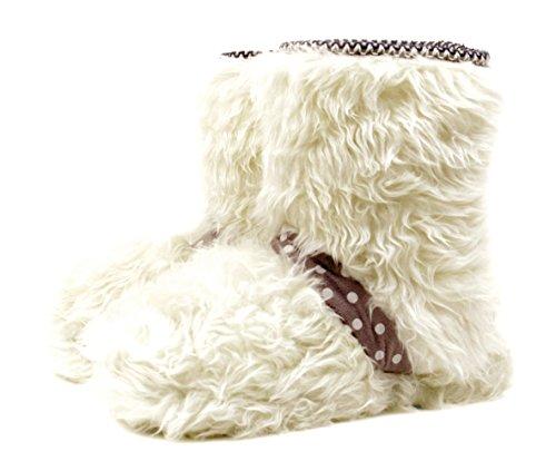 Luckers Girl's Winter Fluffy Slipper Booties (5-6M US Big Kid, Silver Winter)