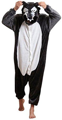 [ABING Halloween Pajamas Homewear OnePiece Onesie Cosplay Costumes Kigurumi Animal Outfit Loungewear,Wolf Adult L -for Height] (Wolf Halloween Costumes)