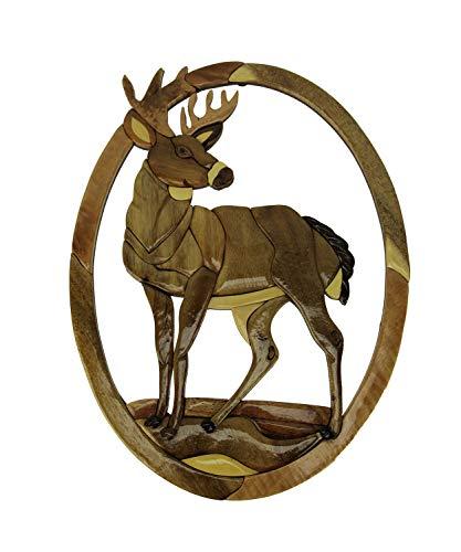 Zeckos Standing Deer Hand Crafted Intarsia Wood Art Wall Hanging