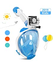 X99 Snorkel Mask, 2019 Upgrade Full Face 180° Panoramic View Diving Mask Set with Latest Dry Top System, Safe Breathing Design Anti-fog and Anti-leak with Detachable Sport Camera Mount for Adults/Kids Men and Women
