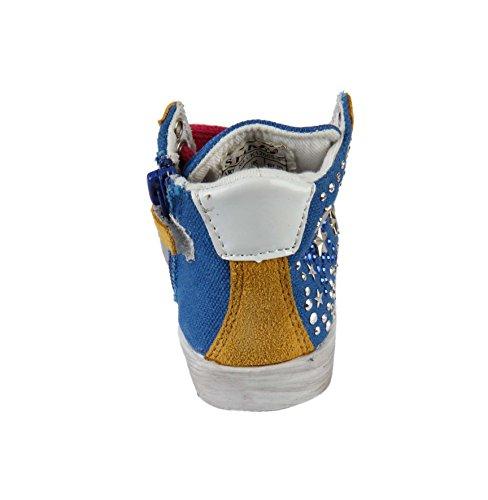 Basket con cordones, strasses y cremallera para niña Azul - azul