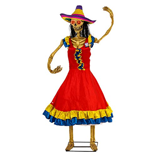 Halloween Haunters Life-Size Animated Spanish Moving Dancing Lady Day of The Dead DOD Skeleton Girl Prop Decoration - Rubber Latex Face, Light Up Eyes - Animatronic Motion - Haunted House Graveyard