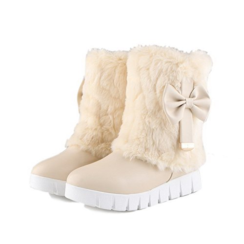 AllhqFashion Womens Solid Low-Heels Round Closed Toe PU Pull-on Boots Beige BxtM1FyOA