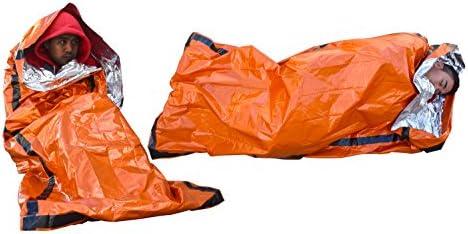 SE EB122OR-2 Survivor Series Orange Emergency Sleeping Bags with Drawstring Carrying Bags (2-Pack)