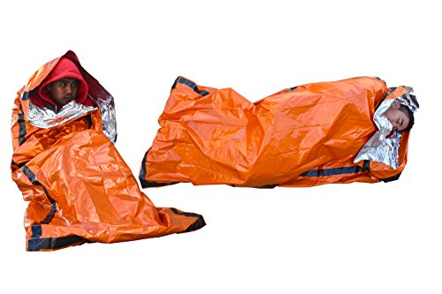 SE Emergency Sleeping Bag with Drawstring Carrying Bag (2 Pack), Orange