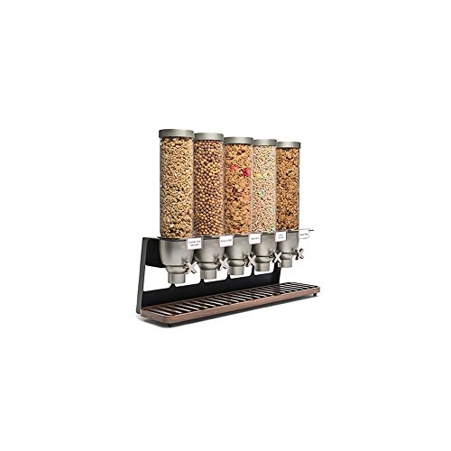Rosseto EZ522 EZ-SERV 5 Container Table-Top Cereal Dispenser with Walnut Tray, 6.5-Gallon Capacity, 9
