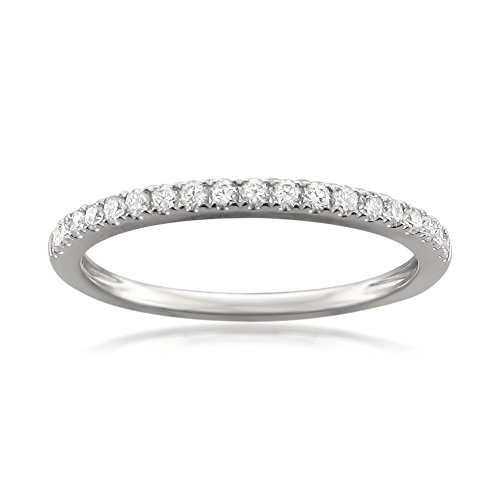 Platinum Round Diamond Micro-Pave Bridal Wedding Band Ring (1/4 cttw, H-I, VS2-SI1), Size 7