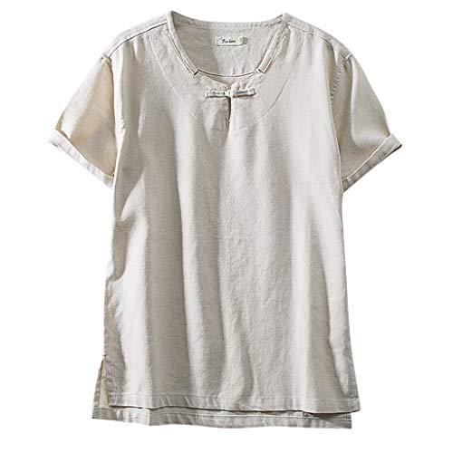 TOPUNDER Fashion Men's Cotton Linen Solid Color Short Sleeve Retro T Shirts Tops Blouse ()
