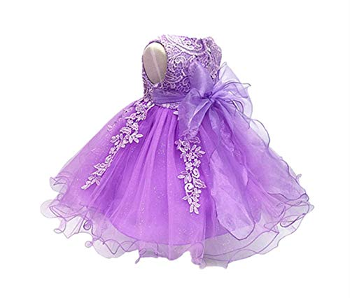 (HX Baby Girl's Lace Gauze Christening Baptism Wedding Dress with Petticoat (4T/110,)