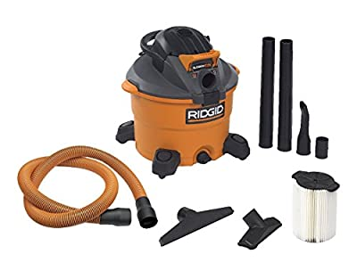 RIDGID Wet Dry Vacuums VAC1200 Heavy Duty Wet Dry Vacuum Cleaner and Blower Vac, 12-Gallon, 5.0 Peak Horsepower Detachable Leaf Blower Vacuum Cleaner with Pro-Grade Hose by Emerson Tool Company