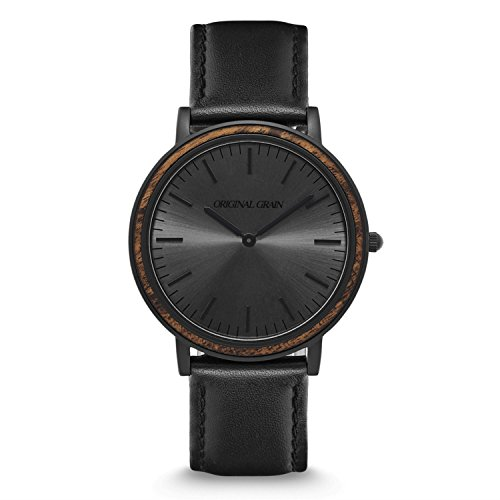 Original Grain Wood Wrist Watch | Minimalist Collection 40MM Analog Watch | Black Leather Watch Band | Japanese Quartz Movement | Ebony Wood Bezel